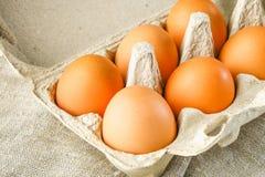 Le poulet brun cru eggs dans un plateau de carton avec des cellules sur renvoyer sur une table en bois blanche Ingrédients pour l Photographie stock