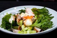 le poulet de cuvette de fond a isolé le blanc de salade de riz de parties de pêche de persil Images stock
