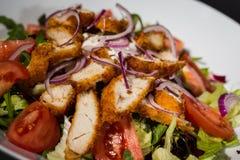 le poulet de cuvette de fond a isolé le blanc de salade de riz de parties de pêche de persil Photo stock