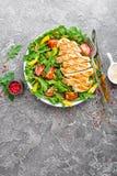 le poulet de cuvette de fond a isolé le blanc de salade de riz de parties de pêche de persil Salade de viande avec la tomate fraî Photographie stock libre de droits