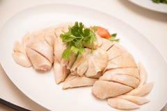 Le poulet de vapeur pour mangent avec du riz. Images libres de droits