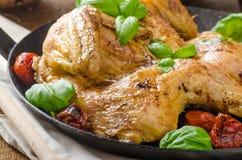 Le poulet a fait cuire au four avec les tomates et le basilic sur la casserole de fer image stock