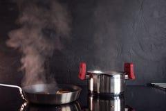Le poulet a haché des côtelettes, faisant cuire le dîner à la maison, nourriture saine image libre de droits