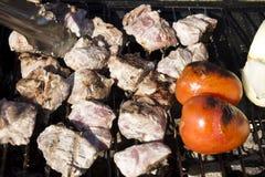 Le poulet, les tomates et les oignons sur un charbon de bois grillent Photo libre de droits