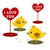 Le poulet mangent le Saint Valentin de grain Photo libre de droits