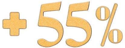 Le pour cent bénéficie, plus 55 cinquante-cinq pour cent, des chiffres d'isolement Photo stock