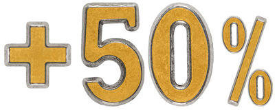 Le pour cent bénéficie, plus 50 cinquante pour cent, des chiffres d'isolement sur le wh Image stock