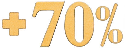 Le pour cent bénéficie, plus 70 soixante-dix pour cent, des chiffres d'isolement dessus Photo libre de droits