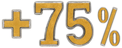 Le pour cent bénéficie, plus 75 soixante-quinze pour cent, l'isolat de chiffres Image libre de droits