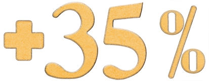 Le pour cent bénéficie, plus 35 trente-cinq pour cent, des chiffres d'isolement Photo libre de droits