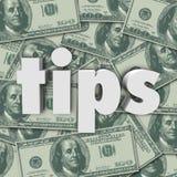 Le pourboire Word 3d d'astuces marque avec des lettres l'argent pour encaisser le fond Photo stock