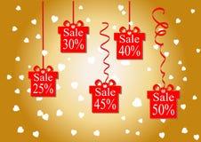 Le pourcentage de remise Prix discount et vente Fond d'or Les boutiques et escomptent les plus bas prix Illustration de vecteur S Photos stock
