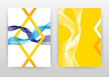 Le pourpre bleu jaune a ondulé des lignes avec la conception de la géométrie pour le rapport annuel, brochure, insecte, affiche L illustration de vecteur