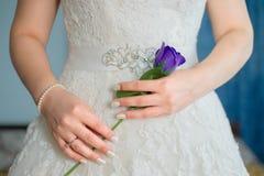 Le pourpre de participation de jeune mariée a monté dans des ses mains image stock