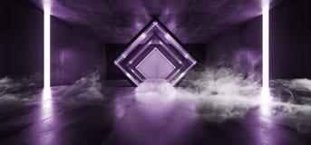 Le pourpre rougeoyant de Sci fi de triangle de lampes au néon de fumée a formé le couloir souterrain sombre de rétro vaisseau spa illustration libre de droits