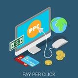 Le PPC payent par clic lançant le vecteur sur le marché 3d isométrique plat Images libres de droits