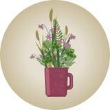 Le pré fleurit le bouquet dans une tasse illustration stock
