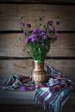 Le pré sauvage fleurit des bleuets dans une paille de ferme dans la vieille ferme Images stock