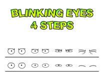 Le préréglage de vecteur d'étapes de yeux de clignotement pour l'animation de caractère conçoivent Images libres de droits