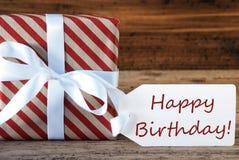 Le présent avec le label, textotent le joyeux anniversaire Photos stock
