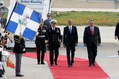 Le Président Barack Obama arrive à Athènes Photo stock