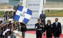 Le Président Barack Obama arrive à Athènes Images stock