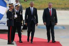 Le Président Barack Obama arrive à Athènes Image libre de droits