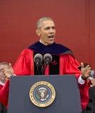 Le Président Barack Obama parle au 250th commencement d'université de Rutgers d'anniversaire Photos stock