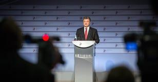 Le président de l'Ukraine Petro Poroshenko parle au sommet de Photo libre de droits