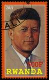 Le Président Kennedy Postage Stamp du Rwanda Photographie stock libre de droits