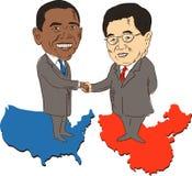 Le Président Obama et Hu Jintao Images libres de droits
