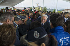 Le Président Sergio Mattarella à l'enterrement, Amatrice, Italie Photographie stock