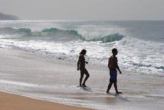 Le Praia font la plage de Meco au Portugal Photo stock