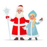 Le père noël russe Grand-père Frost et jeune fille de neige sur un petit morceau Image stock