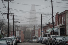 Le precipitazioni nevose di aprile oscurano la cattedrale dell'apprendimento Fotografia Stock