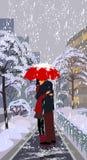 Le precipitazioni nevose e si innamorano Immagine Stock