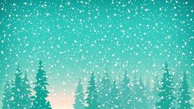 Le precipitazioni nevose, neve cadono sull'abete rosso illustrazione vettoriale