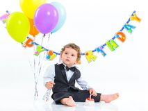 Le premier anniversaire des bébés un an. image stock