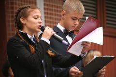 Le premier appel 1er septembre, jour de la connaissance à l'école russe Jour de la connaissance Premier jour d'école Image stock