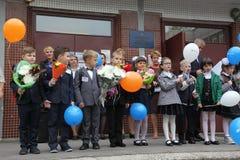 Le premier appel 1er septembre, jour de la connaissance à l'école russe Jour de la connaissance Premier jour d'école Photographie stock