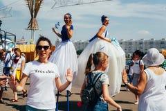 Le premier jour des 2èmes jeux européens Le palais principal de zone de fan des sports, Minsk images libres de droits
