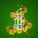 Le premier septembre avec le fond de feuilles d'automne Photos stock