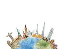 Le presse-papiers des sightseeings du monde paited dans l'aquarelle, voyage concentré illustration de vecteur