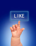 Le pressing de main aiment le bouton. Image libre de droits