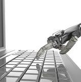 Le pressing robotique de main introduisent la cl? sur le clavier rendu 3d travail avec le clavier d'ordinateur illustration libre de droits