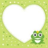 Le prince de grenouille avec le cadre de forme de coeur. Photos stock