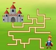 Le prince trouvent la manière au château illustration stock