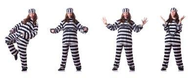 Le prisonnier dans l'uniforme rayé sur le blanc Photographie stock libre de droits