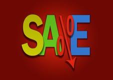 Le prix inférieur coloré de pour cent d'affaire de vente descend Photos libres de droits