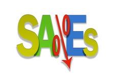 Le prix inférieur coloré de pour cent d'affaire de ventes descend Images libres de droits